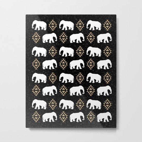 Elephant modern pattern print black gold glitter minimal with tribal influence gender neutral Metal Print