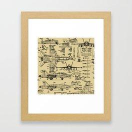 F-18 Blueprints // Tan Framed Art Print