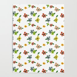 Tiny Delicate Multicolored Flowers Poster