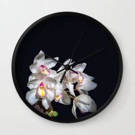 Spray of White Ordchids Wall Clock