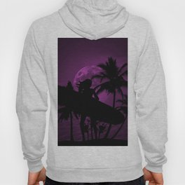 Purple Dusk with Surfergirl in Black Silhouette with Longboard Hoody