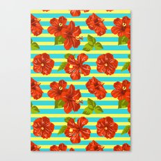 Summer Red Hibiscus Seamless Pattern Canvas Print