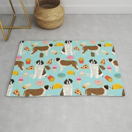St. Bernard junk food fast food french fries dog breed pattern cute pet gifts Rug