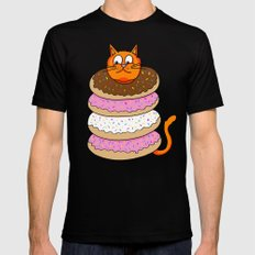 More Cats & Donuts Black MEDIUM Mens Fitted Tee