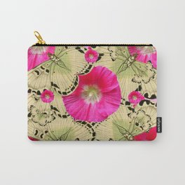 PINK ON PINK HOLLYHOCK FLORAL & YELLOW-BLACK BUTTERFLY Carry-All Pouch