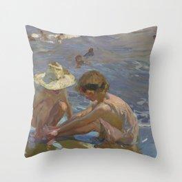 Joaquin Sorolla y Bastida - The Wounded Foot Throw Pillow