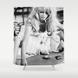 Brigitte Bardot Playing Cards Shower Curtain
