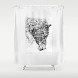 BLACK FRIESIAN HORSE portrait Black & White pencil drawing Shower Curtain