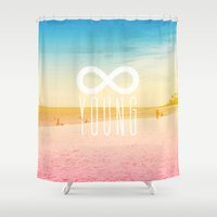 forever young Shower Curtains featuring Forever Young by M Studio