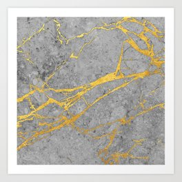 Grey Marble and Gold Art Print