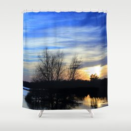 River in Flood at Sunset Shower Curtain