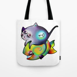 cat,fish and riddle Tote Bag