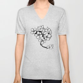 Cherry Blossom Ink Drawing  Unisex V-Neck