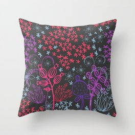 Floral winter night. Throw Pillow