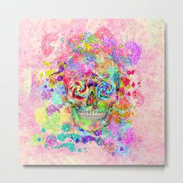 Girly Sugar Skull Pink Glitter Fine Art Paint Metal Print