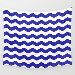 Sea Waves (Navy Blue & White Pattern) Wall Tapestry