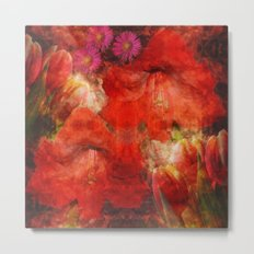 Floral impressionism in passionated red Metal Print