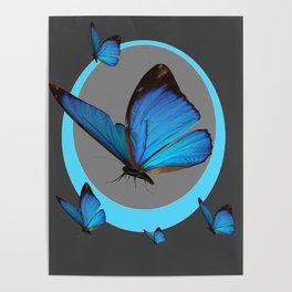 NEON BLUE BUTTERFLIES  & CHARCOAL GREY PATTERN Poster