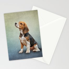 Drawing puppy Beagle Stationery Cards