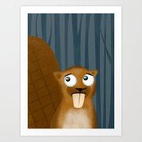 beaver Art Prints featuring Beaver by makoshark