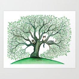 Cheri Whimsical Cats in Tree Art Print