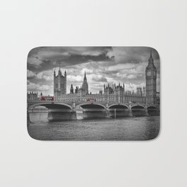 LONDON Houses of Parliament & Red Buses Bath Mat