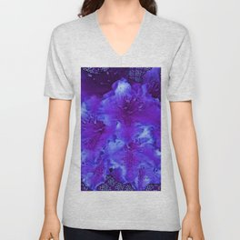 Vivid Amethyst Purple Garden Flowers  Art Unisex V-Neck
