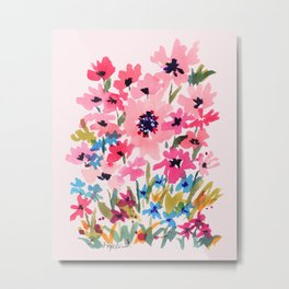 Peachy Wildflowers Metal Print
