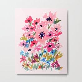 Peachy Wildflowers Metal Print