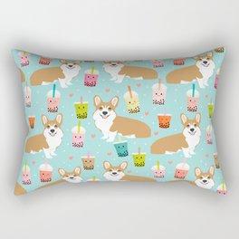 corgi boba tea bubble tea cute kawaii dog breed fabric welsh corgis dog gifts Rectangular Pillow