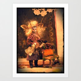 Faery Doll and Twig Bench Art Print