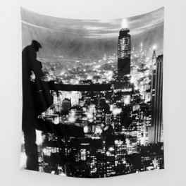 Late night construction in NYC Wall Tapestry