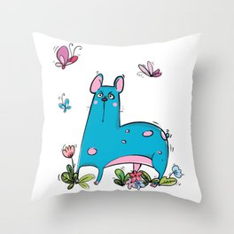 "Blue Dog ""Wow"" Throw Pillow"