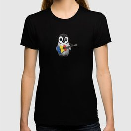 Baby Penguin Playing Romanian Flag Acoustic Guitar T-shirt