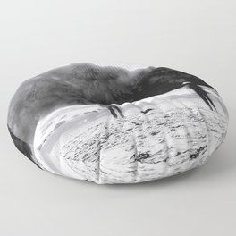 big stone at Pfeiffer beach, Big Sur, California, USA in black and white Floor Pillow