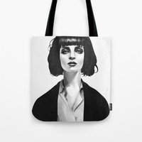 eyes Tote Bags featuring Mrs Mia Wallace by Ruben Ireland