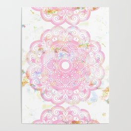 Pastel pink mandala ornament design Poster