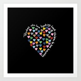 Hearts Heart Teacher Black Art Print