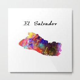 El Salvador Quote Art Design Inspirational Motiva Metal Print