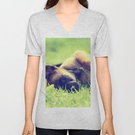 Bedtime for the small puppies Unisex V-Neck