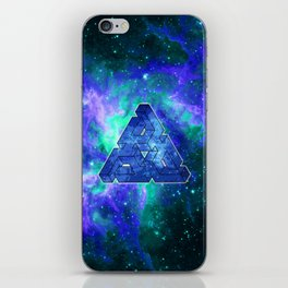 Triangle Blue Space With Nebula iPhone Skin