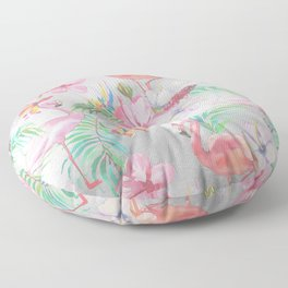 Pink lilac green watercolor hand painted tropical floral flamingos Floor Pillow