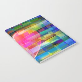 Heart on Multicolored Tile Pattern Notebook
