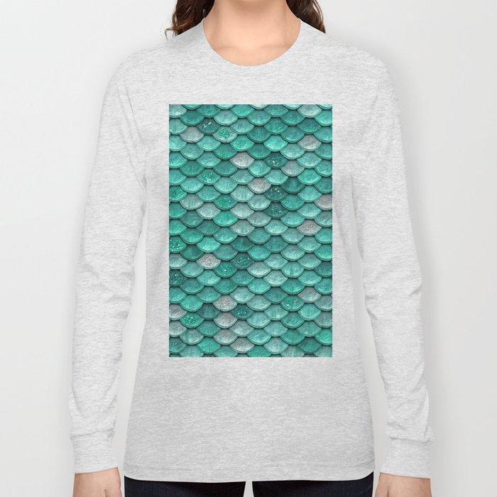 2377cfb7806f Aqua & Mint Mermaid Glitter Scales - Luxury Mermaid Scales Long Sleeve T- shirt. by