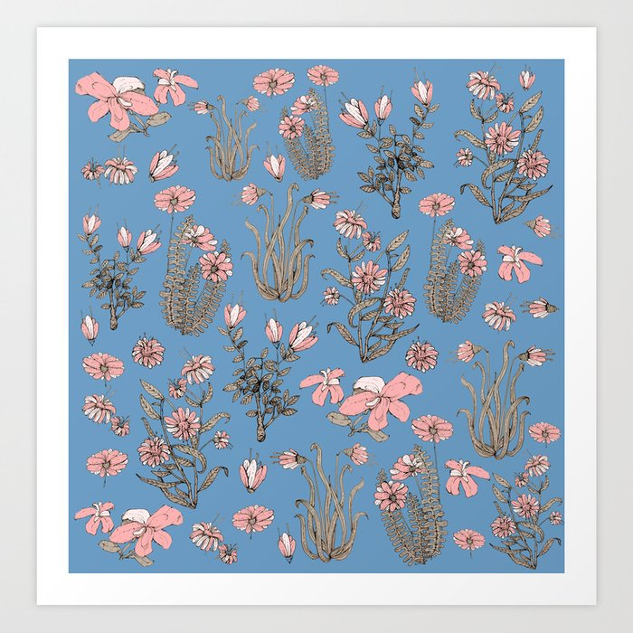 Flowers on Blue! Art Print