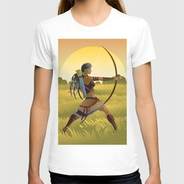 indian native african huntress archer warrior with bow and arrow in the wild T-shirt