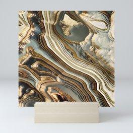 White Gold Agate Abstract Mini Art Print