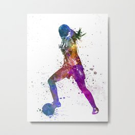Girl playing soccer football player silhouette Metal Print