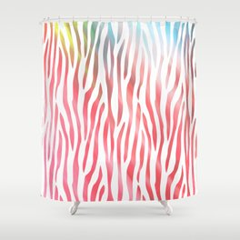 Abstract pink coral teal aqua watercolor zebra pattern Shower Curtain