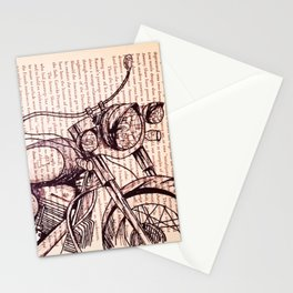 Motorcycle in a Book Stationery Cards